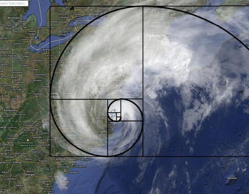 Spirala Fibonacciego - Huragan Irene