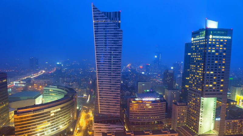 WARSAW, POLAND - 28 FEBRUARY 2014: Aerial view of the city cente